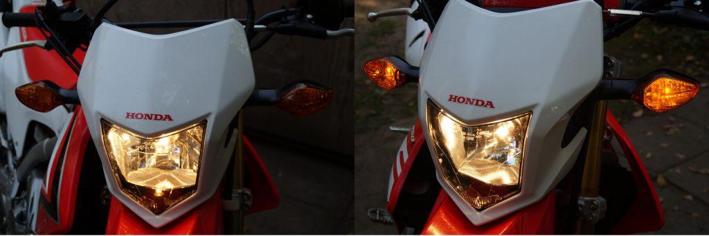 Standlicht gegen Positionsleuchten an der Honda CRF250L